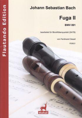 Bach Fuga II BWV 891 bearbeiter fur Blockflotenquartett (SATB)
