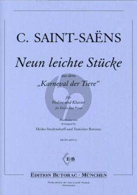 Saint-Saens 9 leichte Stücke aus der Karnaval der Tiere für Violine und Klavier
