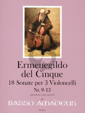 del Cinque 18 Sonate Band 3 No. 9 - 13 3 Violoncellos (Part./Stimmen) (Erik Harms)