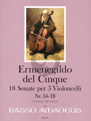 del Cinque 18 Sonate Band 4 No. 14 - 18 3 Violoncellos (Part./Stimmen) (Erik Harms)