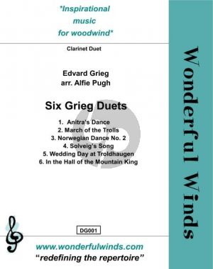 Six Grieg Duets for 2 Clarinets (arr. Alfie Pugh)