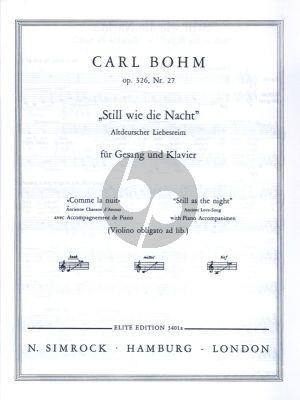 Bohm Still wie die Nacht Op. 326 No. 27 High Voice (with Violin obligato) (german/english/french)