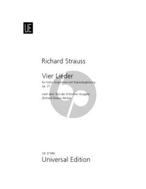 Strauss 4 Lieder Op. 27 TrV 170 Hohe Stimme und Klavier (Andreas Pernpeinter)