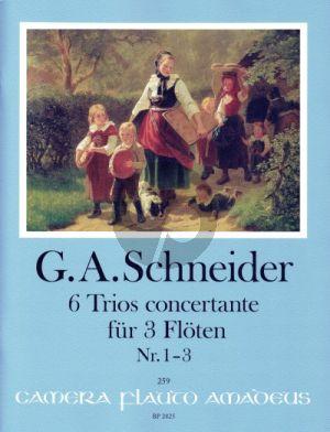 Schneider 6 Trios concertante Heft I: Trios 1-3 3 Flöten (Part./Stimmen) (Yvonne Morgan)