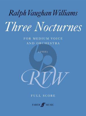 Vaughan Williams 3 Nocturnes Medium Voice and Orchestra (Full Score)