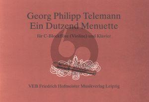 Telemann Ein Dutzend Menuette fur Sopranblockflote[Violine] und Klavier (Herausgegeben von Gerhard Wohlgemuth)