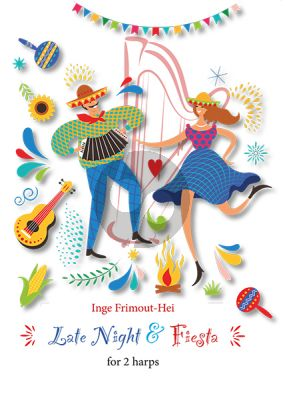 Frimout Late Night & Fiesta for 2 Pedal Harps Score and Parts (Advanced)