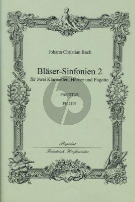 Bach 6 Sinfonien 2 (No.4 - 6) 2 Clar.[Bb]- 2 Hrns[Bb.] 2 Bns. Score (edited by Fritz Stein)