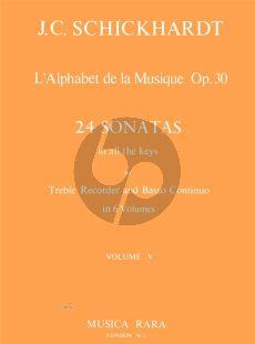 Schickhardt L'Alphabet de La Musique Op.30 - 24 Sonatas Vol.5 No.17-20 Treble Recorder and Bc (Edited by Paul J. Everett)