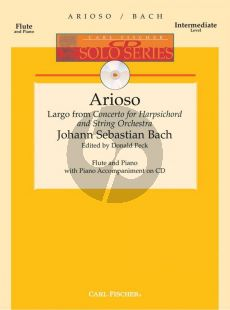 Bach Arioso for Flute and Piano (Largo from Harpsichord Concerto BWV 1056) (Book with Audio online) (edited by Donald Peck)