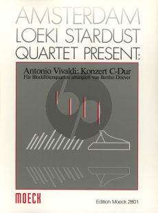 Vivaldi Konzert C dur 9nach RV 443) Blockfloten Quartett AATB Partitur und Stimmen (herausgegeben von Bertho Driever) (Reihe: Amsterdam Loeki Stardust Quartet present)