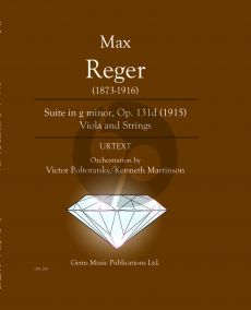 Reger Suite g-moll Opus 131d Viola - Orchestra Score - Parts (Orchestration by Victor Poltoratsky / Kenneth Martinson)