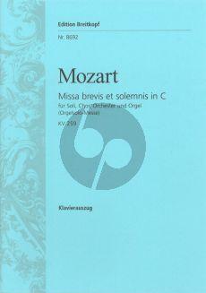Mozart Missa Brevis C-dur KV 259 (Orgelsolo Messe) Soli-Chor-Orchester Klavierauszug (ed. Wolfgang Horn)