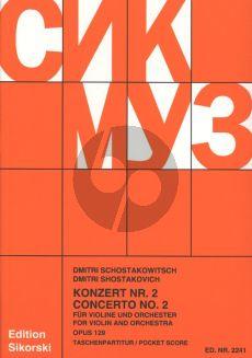 Shostakovich Konzert No.2 Op.129 (1967) Violine und Orchester Tasschenpartitur