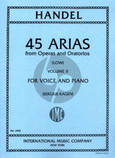 Handel 45 Arias Vol. 2 Low Voice-Piano (Sergius Kagen)