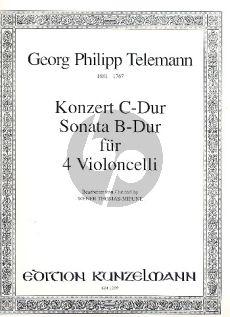 Telemann Concerto C-major and Sonata B-flat major (orig. 4 Violins) 4 Violoncellos (Parts) (Thomas-Mifune)