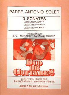 Soler 3 Sonates (No.87-117-15) 2 Guitares (Horreaux-Trehard)