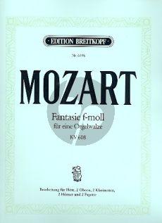 Mozart Fantasie f-moll KV 608 Fl.- 2 Ob.- 2 Clar.[Bb]- 2 Horns[Eb]- 2 Bns (Parts) (arr. Karl Hermann Pillney)