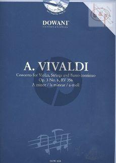 Vivaldi Concerto a-minor Op.3 No.6 (RV 356) (Violin-Str.-Bc) (piano red.) (Bk-Cd) (Dowani 3 Tempi Play-Along)