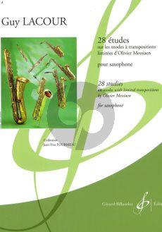 Lacour 28 Etudes sur les Modes à Transpositions limitées d'Olivier Messiaen pour Saxophone