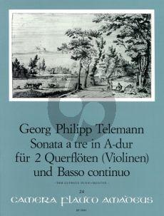 "Telemann Sonata a tre A-major TWV Anh. 42:A (from ""Der getreue Musikmeister) 2 Flutes[2 V.]-Bc)"