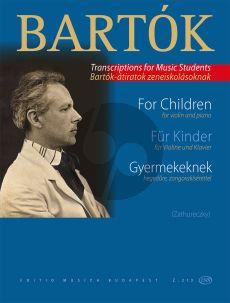 Bartok For Children (Fur Kinder) Violin and Piano (Ede Zathureczky)