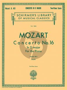 Mozart Concerto No.16 in D Major KV 451 (Philipp) Ed. 2 Pianos (2 Copies needed to perform)