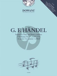 Handel Hallenser Sonata No. 1 HWV 374 A-minor Flute and Bc (Book with CD and Audio online) (Dowani)
