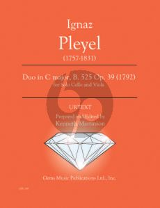 Pleyel Duo in C major B. 525 Op. 39 (1792) Viola - Cello (Prepared and Edited by Kenneth Martinson) (Urtext)