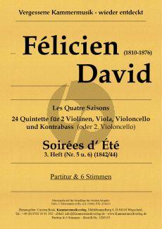 David Soirées d' Été Heft 3 No. 5 - 6 2 Violinen-Viola-Violoncello und Kontrabass (Vc.) (Part./Stimmen) (Carsten Bock)