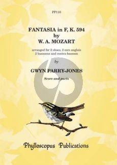 Mozart Fantasia F-major KV 594 2 Ob.-2 Cor Angl.- 2 Bns-Contra Bsn. (Score/Parts) (arr. Gwyn Parry-Jones)