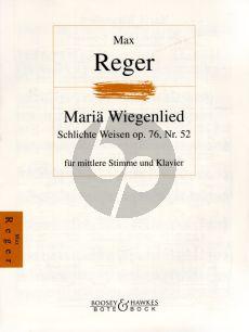 Reger Maria Wiegenlied Schlichte Weisen Op.76 No.52 Mittelstimme und Klavier