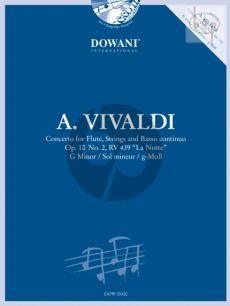 """Vivaldi Concerto g-minor RV 439 (Op.10 No.2) """"La Notte"""" (Flute-Str.-Bc) (piano red.) (Bk-Cd)"""