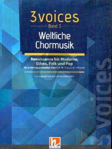 3 Voices - Chorbuch SAM - Band 3 Weltliche Chormusik (Pop-Folklore-Ethno)