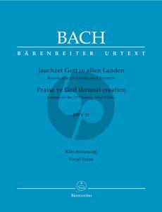Bach J.S. Kantate BWV 51 Jauchzet Gott in allen Landen Vocal Score (Praise ye God thruout creation BWV 51) (German / English)