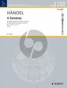 Handel 4 Sonatas Treble Recorder and Bc (edited by Edgar Hunt)