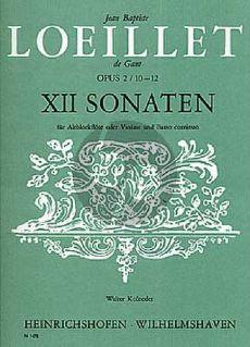 Loeillet 12 Sonaten Op.2 Vol.3 No.10-12 Altblfockflote [Violine/Oboe] und Bc (herausgegeben von Walter Kolneder)