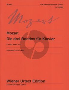Mozart 3 Rondos KV 485 - 494 - 511 Piano solo (edited by Ulrich Leisinger) (Wiener-Urtext)