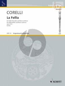 Corelli La Follia (from Sonata Op.5 No.12) Treble Recorder-Piano (Linde)