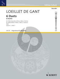 Loeillet 6 Duets Vol.1 (No.1-3) (2 Treble Rec.) (edited by Hugo Ruf)