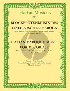 Italian Baroque Music for Recorder (6 Sonatas by Italian Composers) (Treble Rec [Flute/Oboe/ Violin]-Bc)