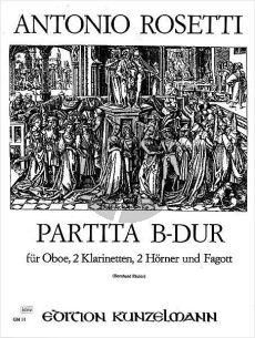 Rosetti Partita B-dur (Murray B22) (Oboe-2 Klar.-2 Hörner-Fagott) (Part./Stimmen) (Bernhard Pauler)
