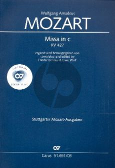 Mozart Mass c-minor KV 427 Soli-Choir-Orch. Vocal Score (completed and edited by Frieder Bernius & Uwe Wolf)
