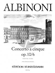 Albinoni Concerto D-dur Op.10 / 6 Violine-Streicher-Bc (Partitur) (Walter Kolneder)