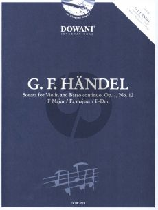 Handel Sonate F-Dur Op. 1 No. 12 Violin and Bc (Bk-Cd) (Dowani 3 Tempi Play-Along)