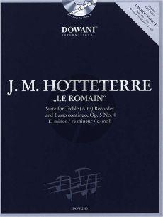 Hotteterre Suite d-moll Op.5 No.4 Altblokfluit-Bc (Bk-Cd) (Dowani)