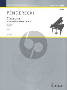 """Penderecki Ciaccona - In memoriam Giovanni Paolo II (aus """"Polnisches Requiem"""" eingerichtet für Klavier solo von Stanisław Deja) (nach der Originalfassung für Streichorchester)"""