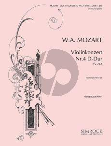 Mozart  Concerto No.4 D-major KV 218 Violin-Orch. Edition for Violin and Piano (Edited by Joseph Joachim)