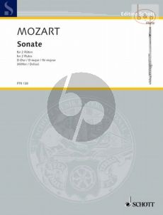 Sonata D-major KV 300H[374D/ 189A] 2 Flutes (Playing Score)