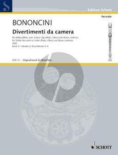 Bononcini Divertimenti da Camera Vol.2 Treble Rec.[Fl./Ob./Vi.]) (Violonc. [Viola da Gamba ad lib.] mit Bc (Hugo Ruf)